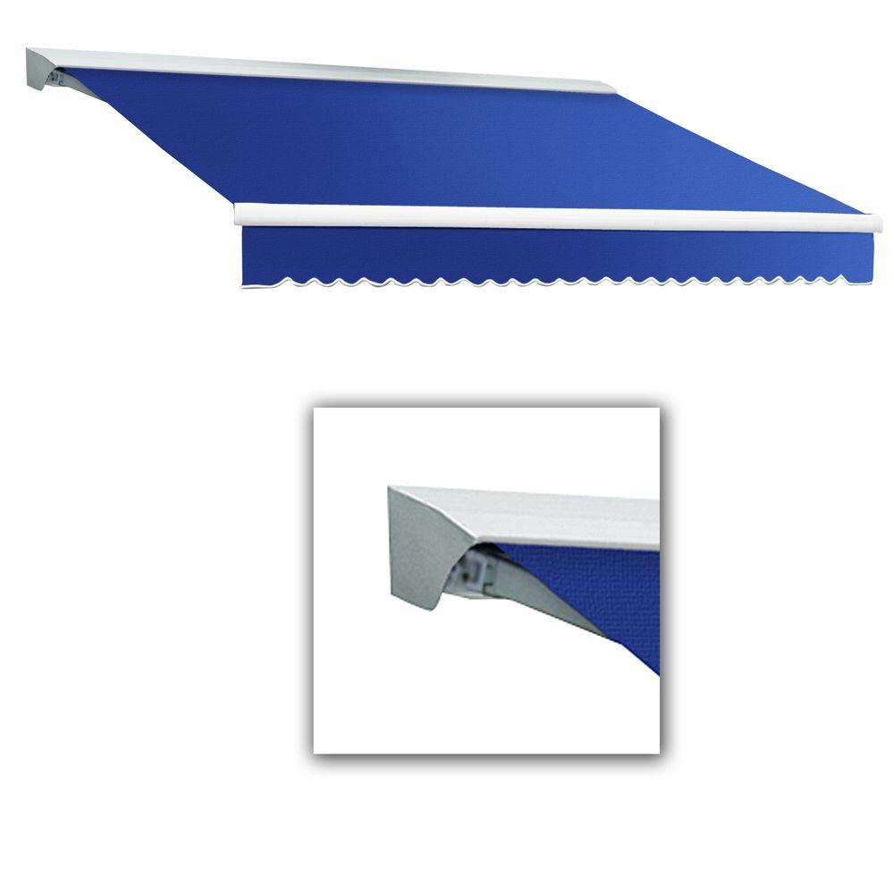 AWNTECH 14 ft. Destin-LX Manual Retractable Acrylic Awning with Hood (120 in. Projection) in Blue