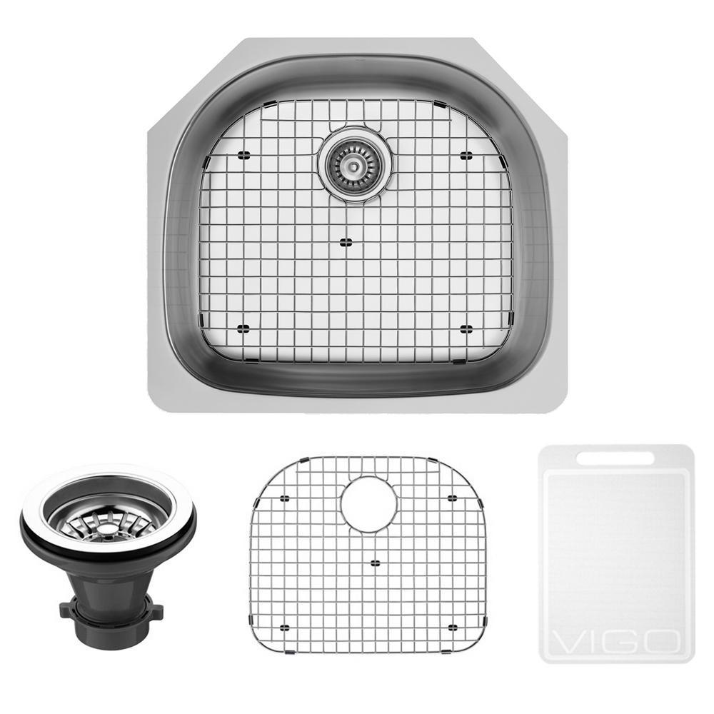 VIGO Undermount 24 in. Single Basin Kitchen Sink with Grid and Strainer in Stainless Steel
