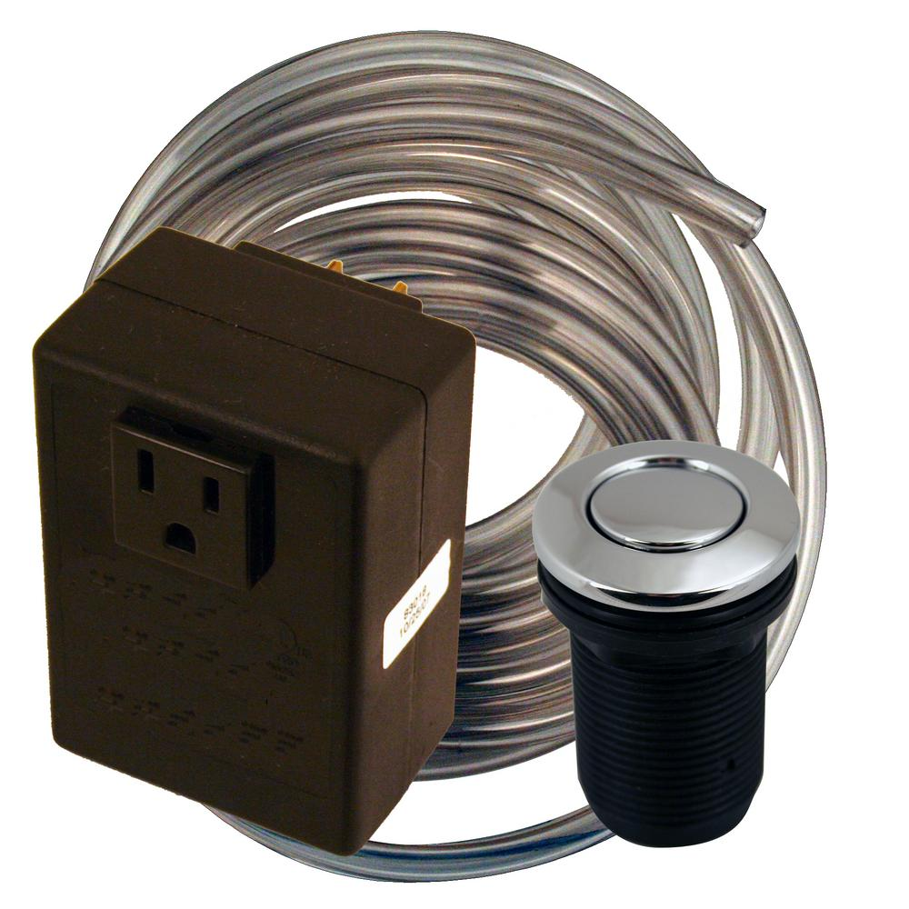 Westbrass Disposal Air Switch and Single Outlet Control Box in Polished Chrome
