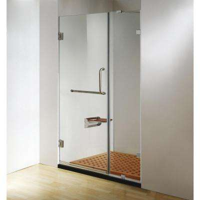 60 in. x 79 in. Frameless Hinged Shower Door Clear Class in Chrome, Handle and Towel Bar