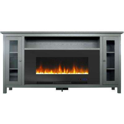 Somerset 70 in. Gray Electric Fireplace TV Stand in Multi-Color with LED Flames Crystal Rock Display and Remote Control