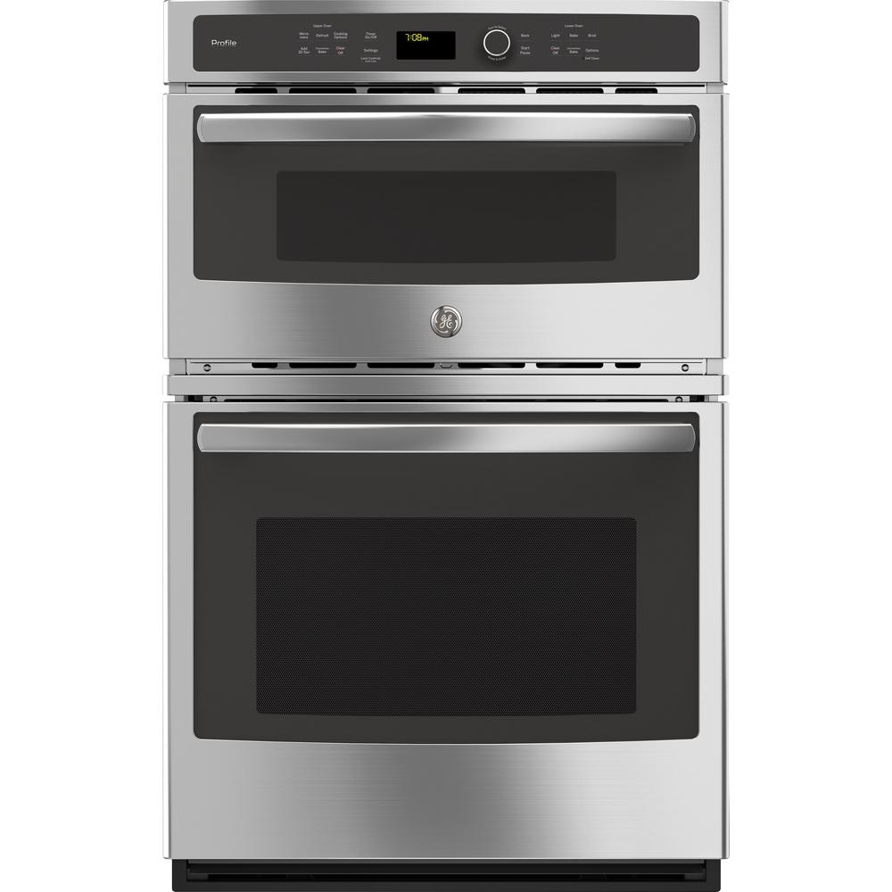 GE Profile 27 in. Double Electric Wall Oven with Convection Self-Cleaning and Built-In Microwave in Stainless Steel