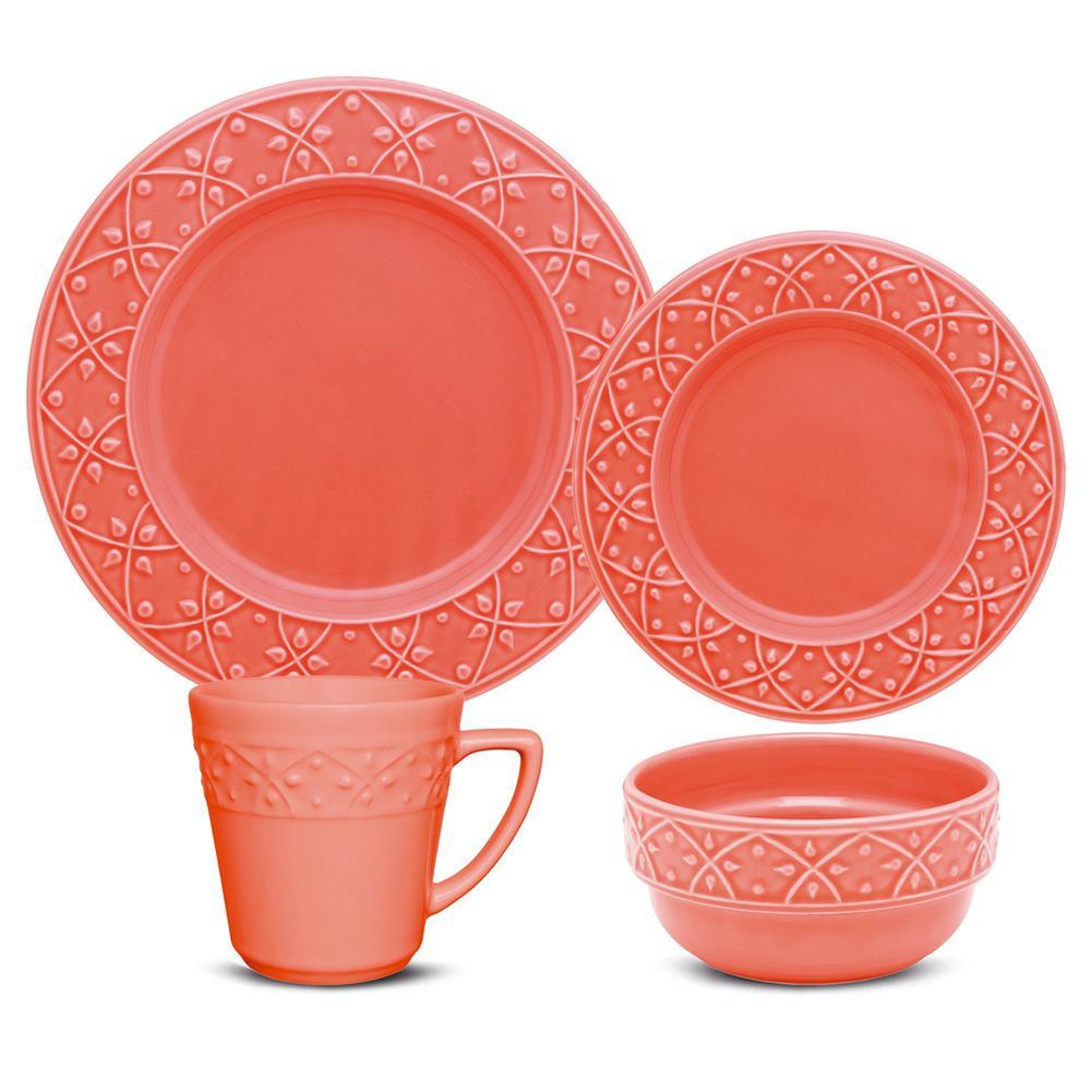 Mendi Coral 24-Piece Casual Coral Earthenware Dinnerware Set (Service for 6)