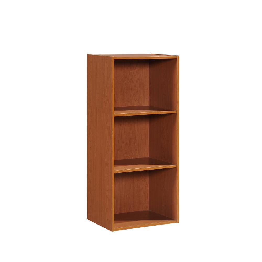 35.67 in. Cherry Wood 3-shelf Standard Bookcase with Storage