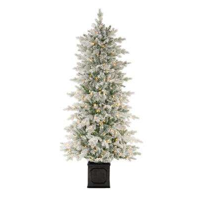 6.5 ft LED Pre-Lit Potted Artificial Christmas Tree with 250 White Lights