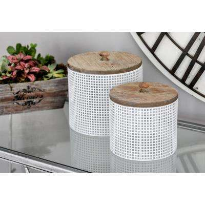 White Iron Mesh Round Canisters with Wooden Lid (Set of 2)