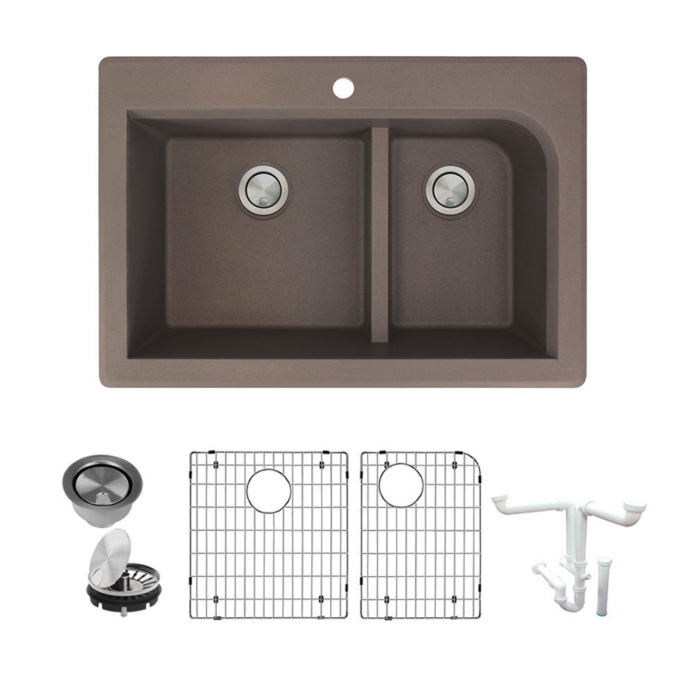Radius All-in-One Drop-in Granite 33 in. 1-Hole 1-3/4 in. J-Shape Double Bowl Kitchen Sink in Espresso