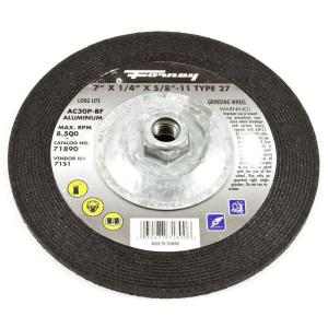 Forney 7 inch x 1/4 inch x 5/8 in.-11 Threaded Aluminum Type 27 AC46 Grinding Wheel by Forney