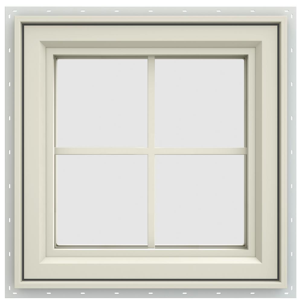 23.5 in. x 23.5 in. V-4500 Series Left-Hand Casement Vinyl Window with Grids - Yellow