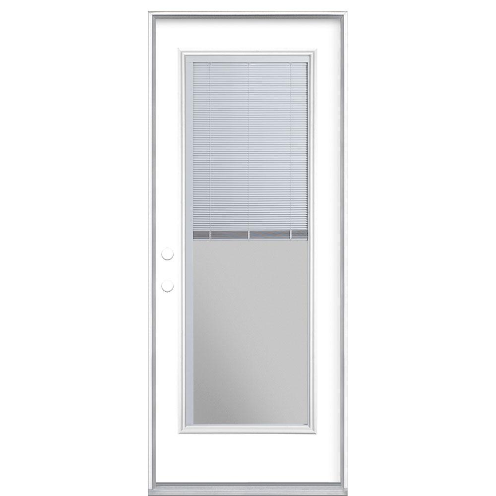Masonite 32 in. x 80 in. Full Lite Mini Blind Right-Hand Inswing Painted Steel Prehung Front Exterior Door No Brickmold