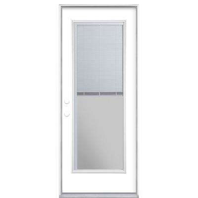 32 in. x 80 in. Full Lite Mini Blind Right-Hand Inswing Painted Steel Prehung Front Exterior Door No Brickmold