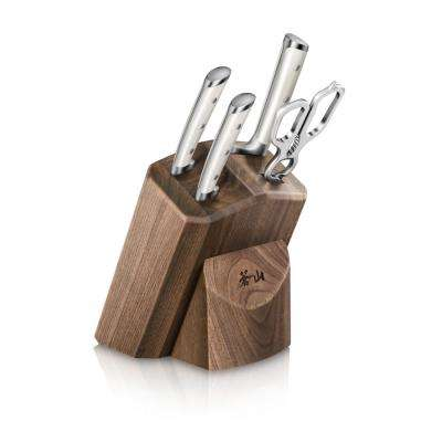 S1 Series German Steel Forged 5-Piece Starter Knife Block Set in Walnut