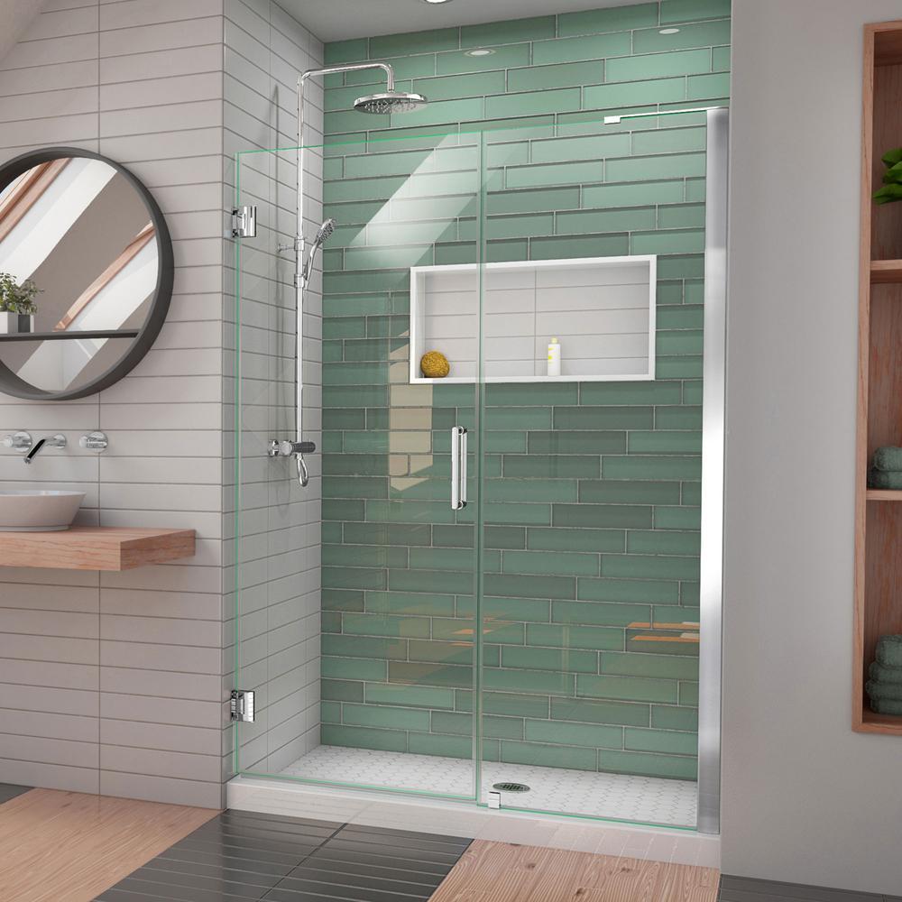 Unidoor-LS 50 in. to 51 in. W x 72 in. H Frameless Hinged Shower Door in Chrome