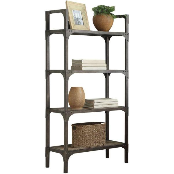 65 in. H Gray Metal 4-Shelf Bookcase with Straight Legs
