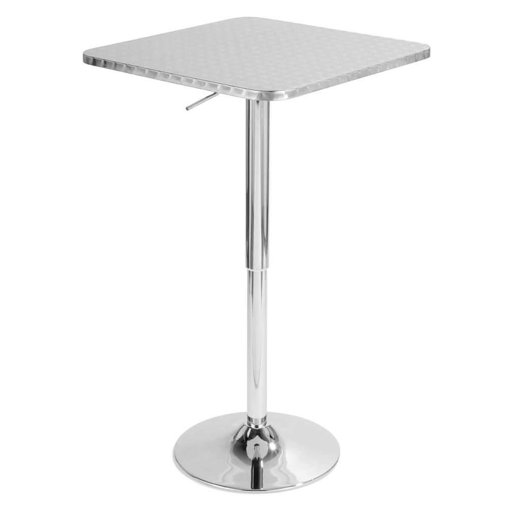 Attirant Lumisource Bistro Square Silver Adjustable Bar Table