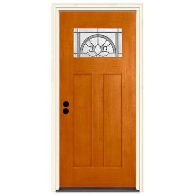 36 in. x 80 in. Right-Hand 1-Lite Craftsman Ardsley Saffron Stained Fiberglass Prehung Front Door with Brickmould