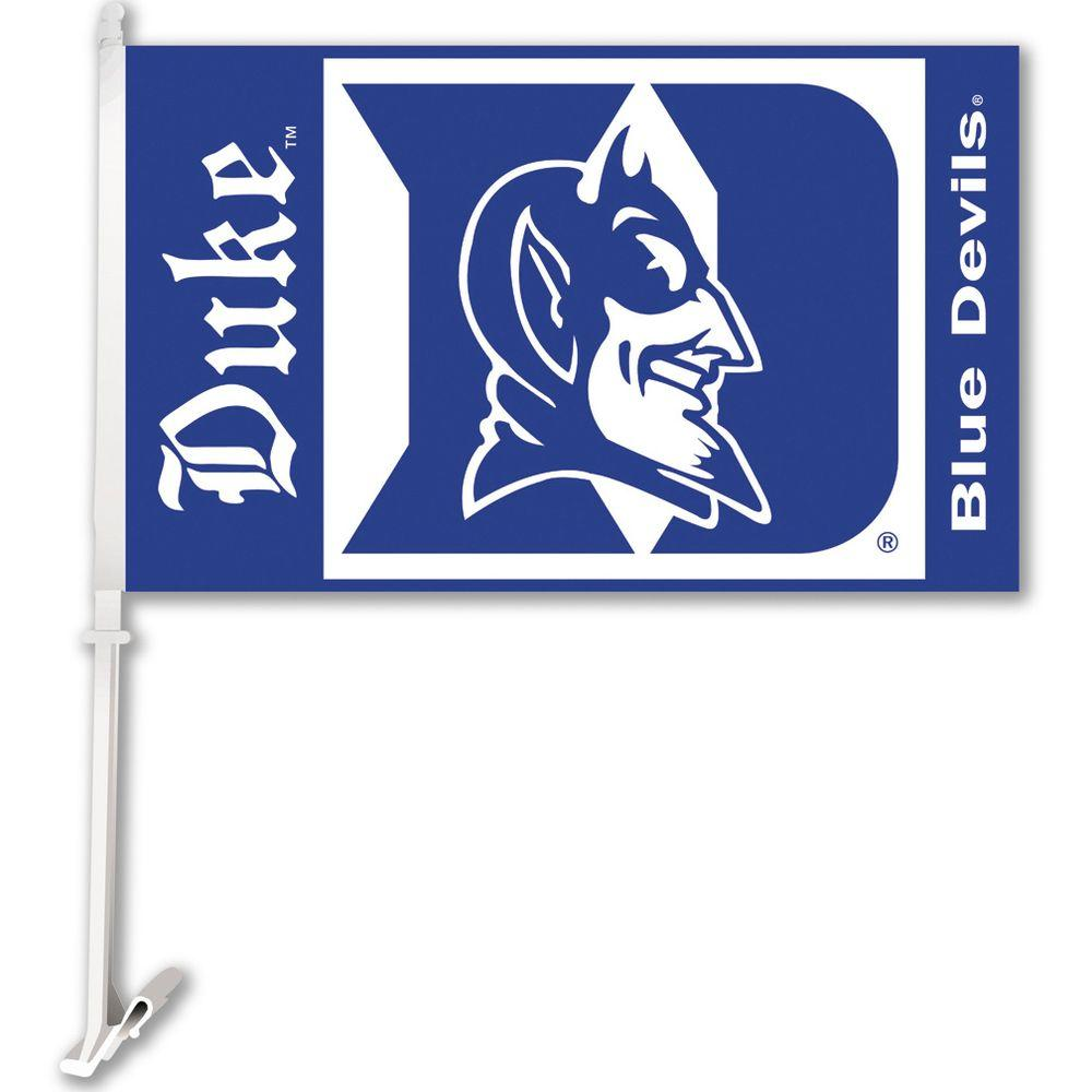 BSI Products NCAA 11 in. x 18 in. Duke 2-Sided Car Flag with 1-1/2 ft. Plastic Flagpole (Set of 2)-DISCONTINUED