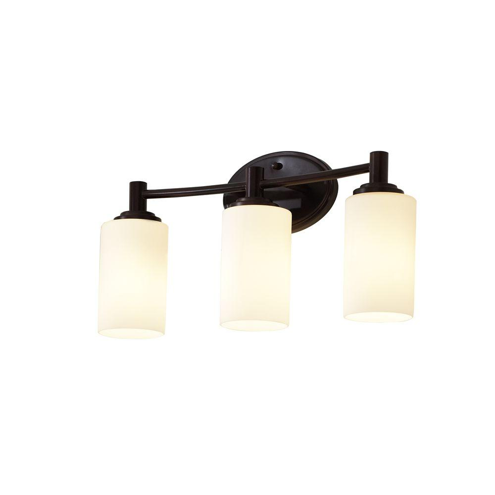 Thomas lighting pittman 3 light sienna bronze wall bath for 6 light bathroom vanity light