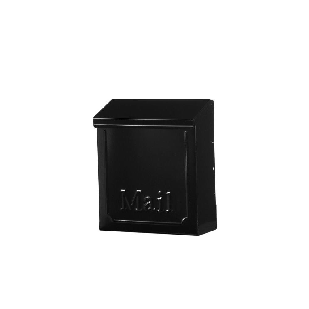 Gibraltar Mailbo Townhouse Black Steel Vertical Wall Mount Locking Mailbox