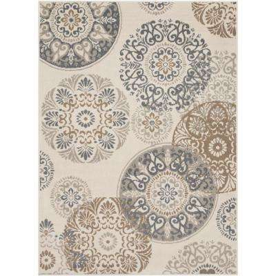 Eveline Beige 7 ft. 10 in. x 10 ft. 3 in. Medallion Area Rug