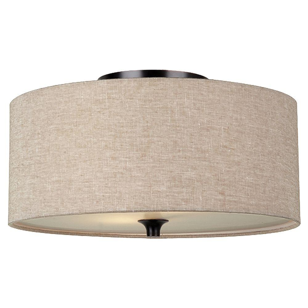 Sea Gull Lighting Stirling 14 In W 2 Light Burnt Sienna Flush Mount With Beige Linen Drum Shade