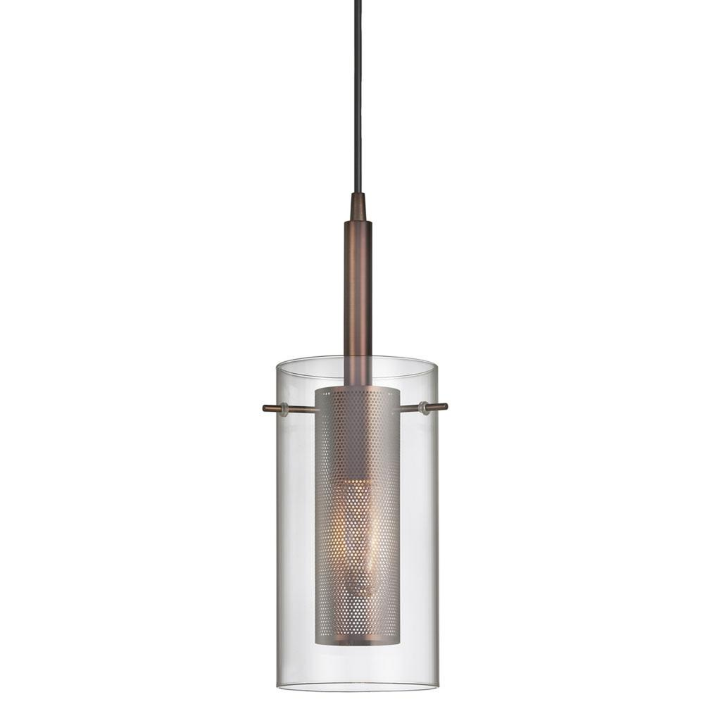 1-Light Oil Brushed Bronze Pendant with Glass Shade