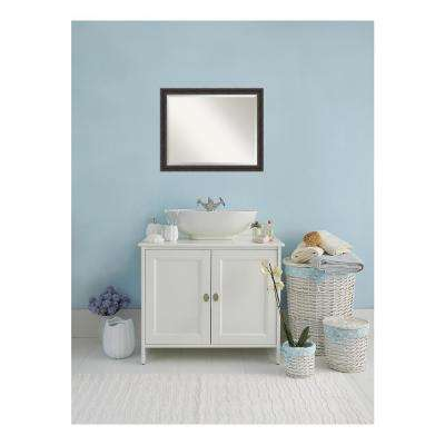 Narrow Rustic Pine Wood 31 in. W x 25 in. H Single Distressed Bathroom Vanity Mirror