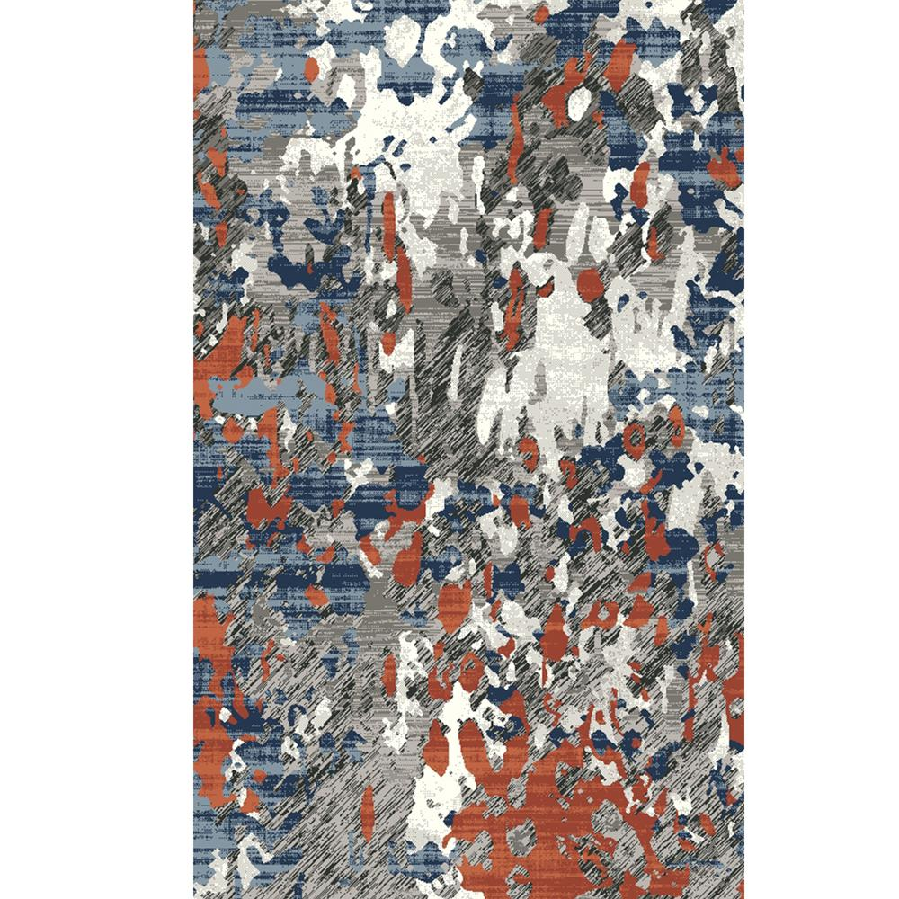 Pyramid Home Decor Pierre Cardin Collection Blue Red Oriented 5 Ft X 7 Modern Abstract Pattern Area Rug