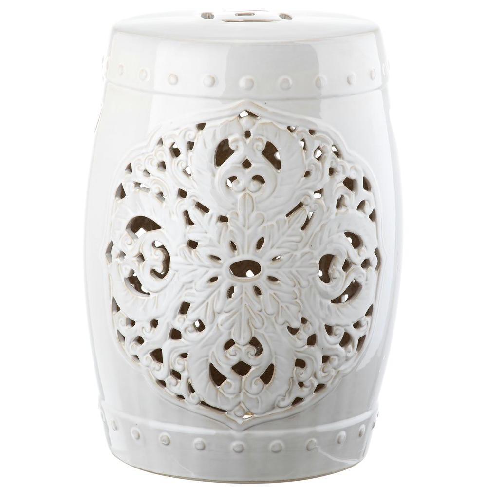 Flora White Ceramic Garden Stool