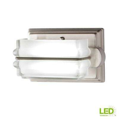 8-Watt Brushed Nickel Integrated LED Bath Light with Clear Etched Glass