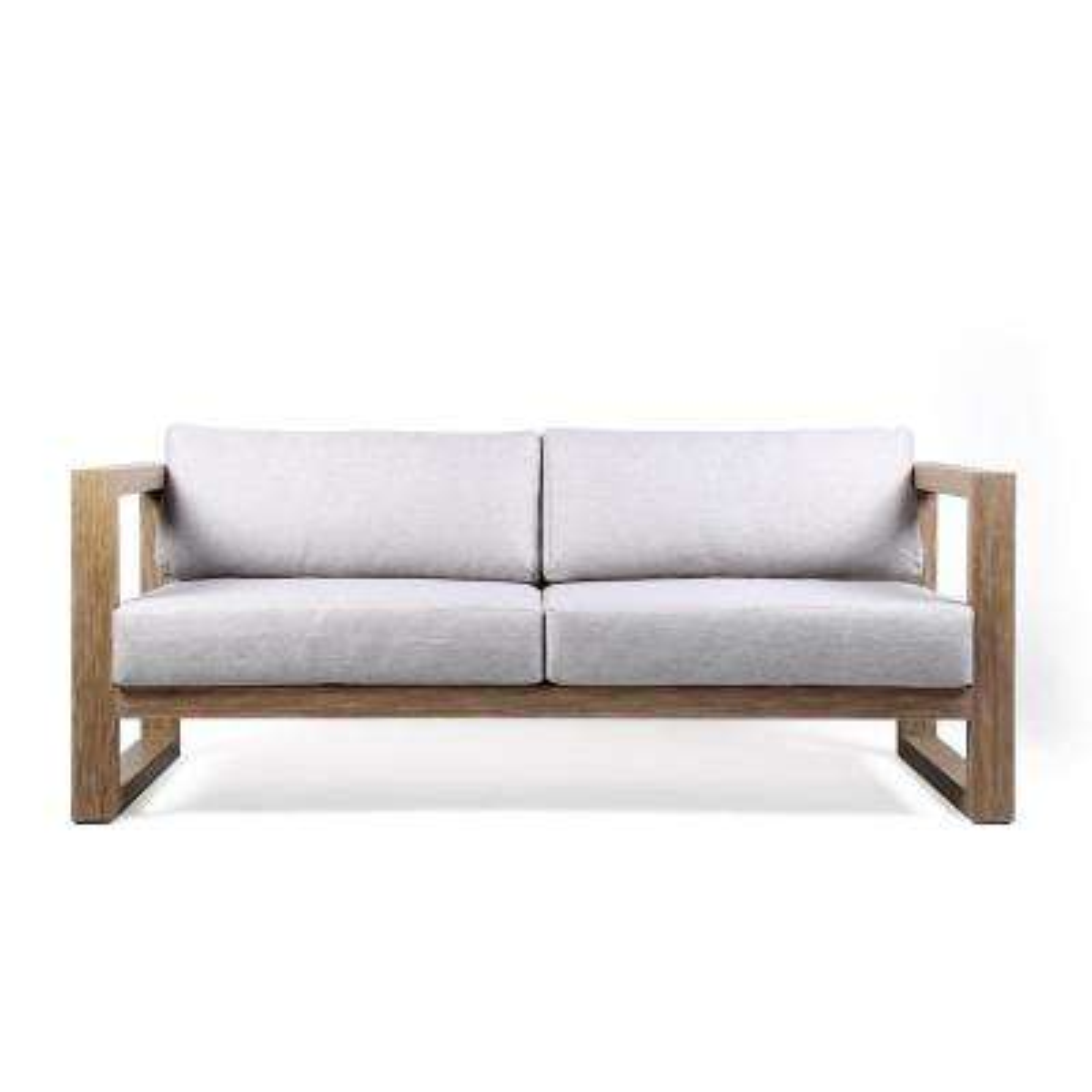 Paradise Outdoor Patio Sofa in Eucalyptus Wood with Teak Finish and Light Gray Fabric