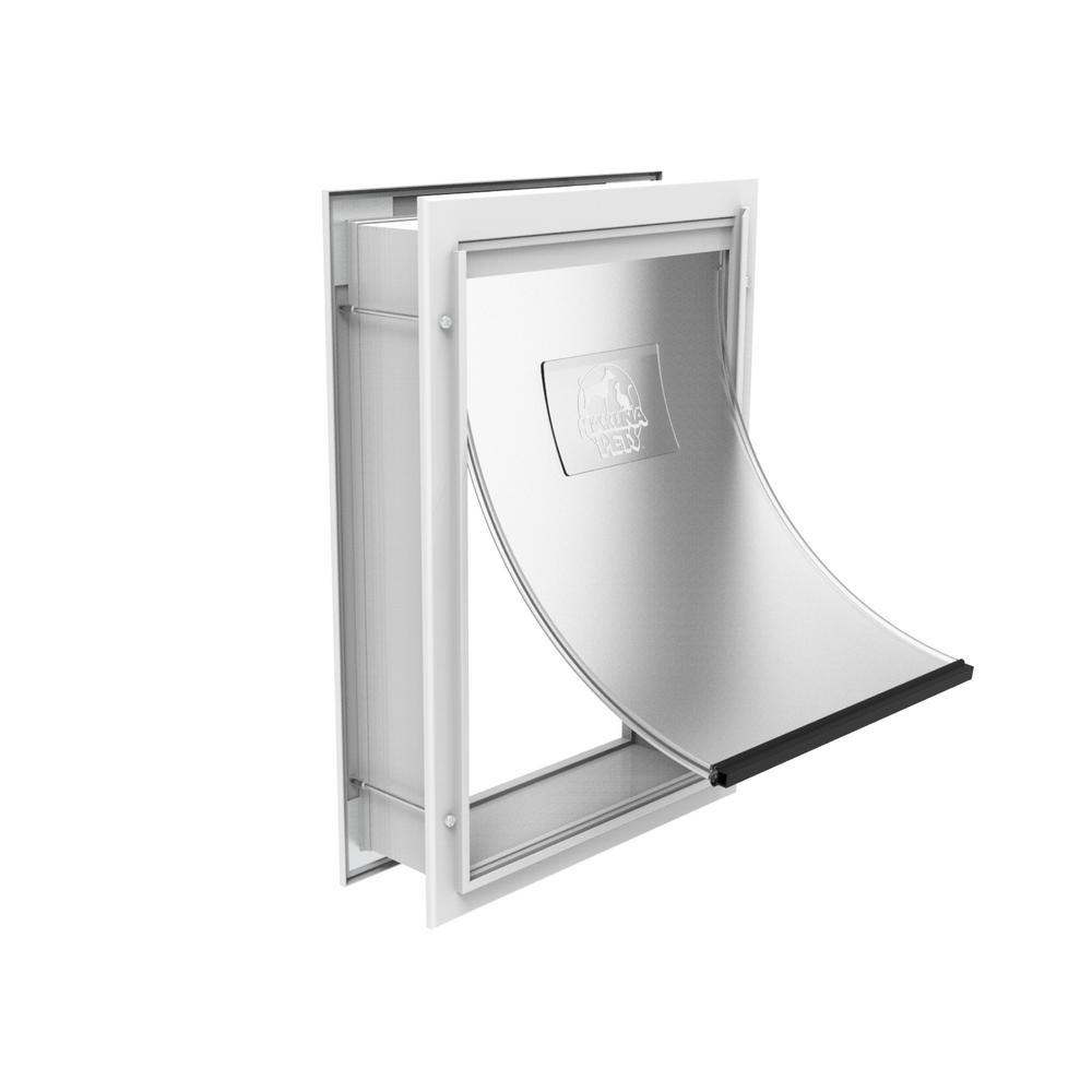 7.2 in. x 9.3 in. Small Deluxe Aluminum Pet Door Adjustable Tunnel White