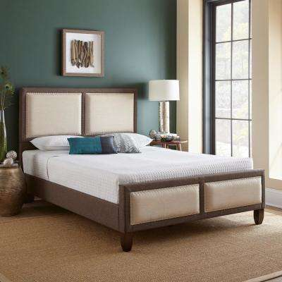 Mallory Brown Queen Panel Upholstered Platform Bed Frame