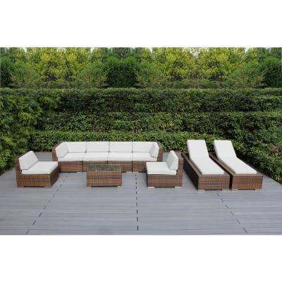 Mixed Brown 9-Piece Wicker Patio Combo Conversation Set with Sunbrella Natural Cushions