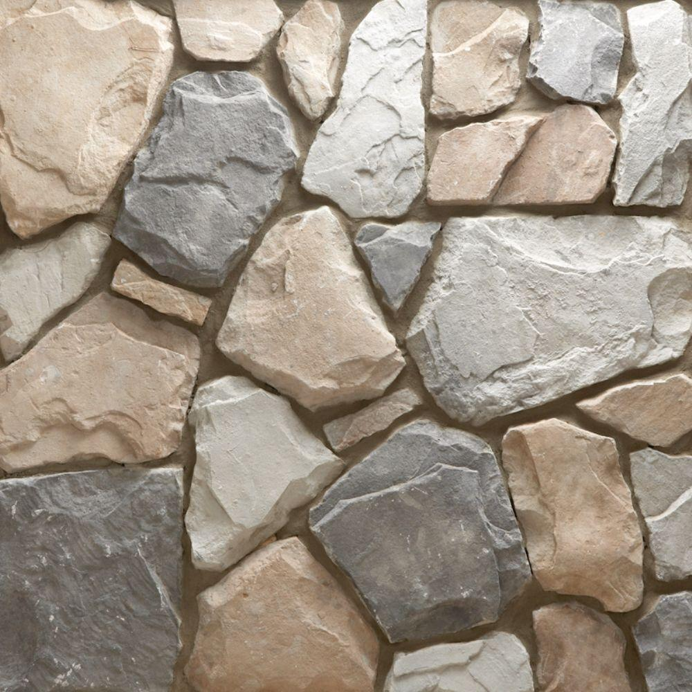 Veneerstone field stone gainsboro flats 10 sq ft handy for Manufactured veneer stone