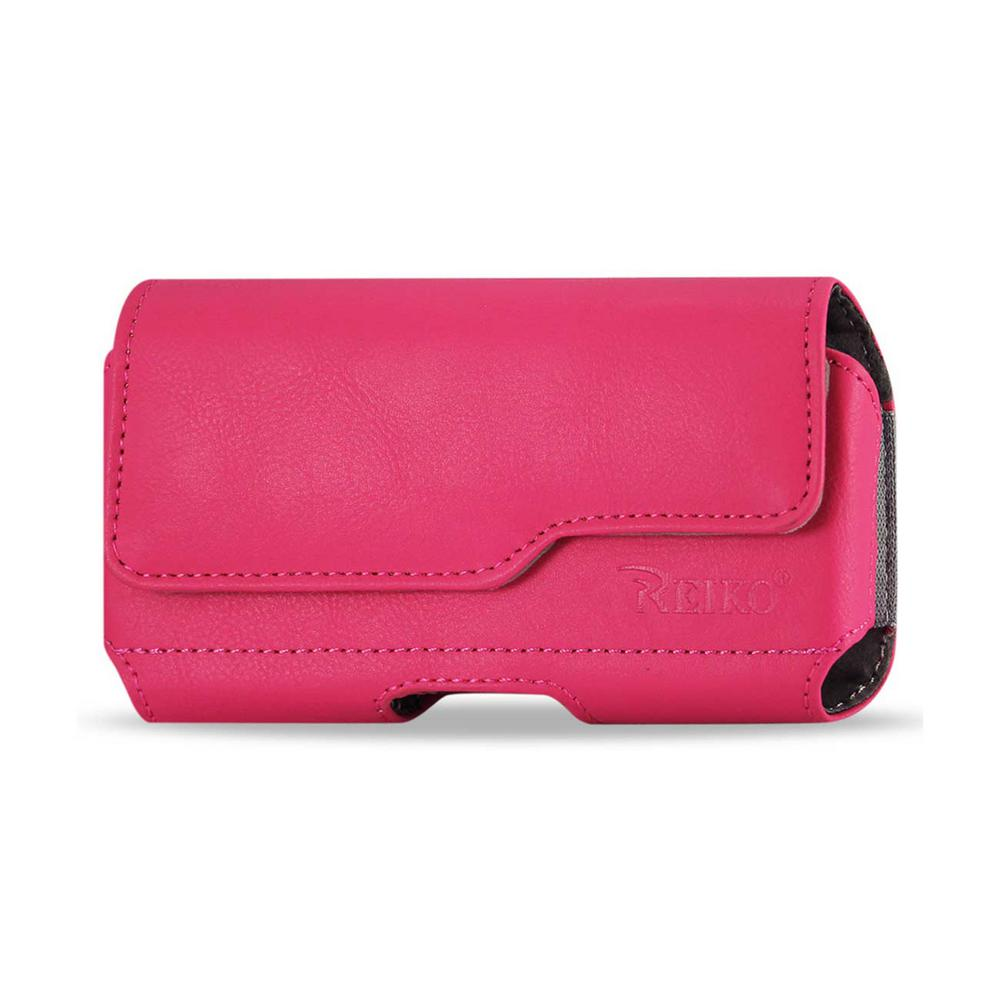 Large Horizontal Leather Holster in Hot Pink