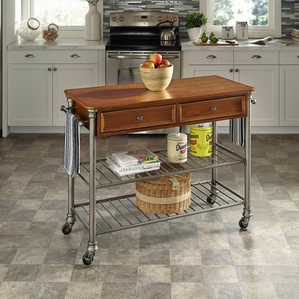 Home Styles Orleans Vintage Caramel Kitchen Cart With Towel Bar