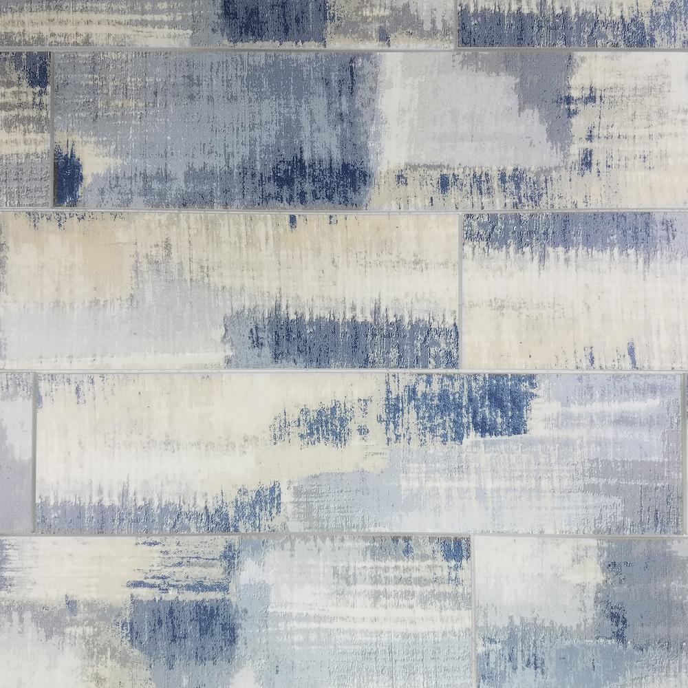 "Subway 4"" x 16"" Rectangle Blue Matte Stone Look Glass Peel & Stick Decorative Bathroom Wall Tile Backsplash (6 Pc/Pack)"