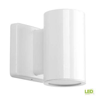 Cylinders Collection 1-Light White Integrated LED 5.6 in. Outdoor Wall Mount Cylinder Light