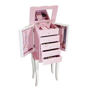 Louisa Girl S Pink Wooden Jewelry Armoire