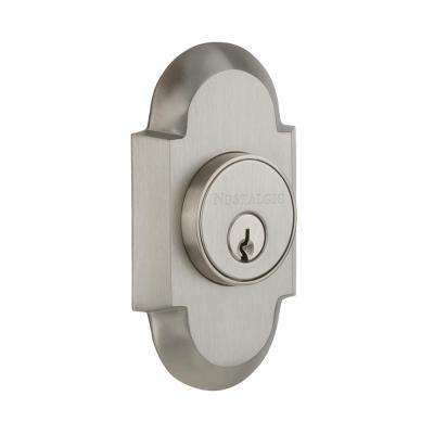 Cottage Plate 2-3/8 in. Backset Double Cylinder Deadbolt in Satin Nickel