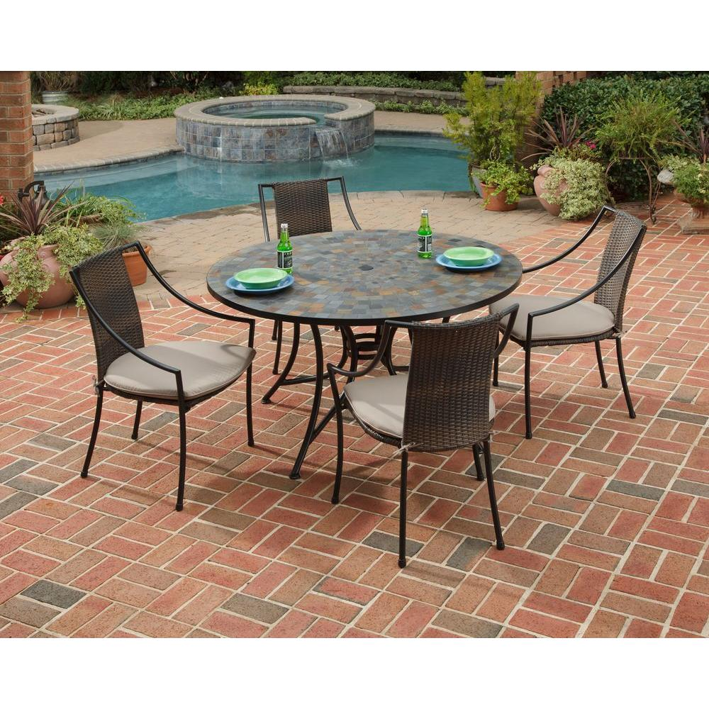 Home Styles Stone Harbor 5-Piece Oval Patio Dining Set with Taupe Cushions