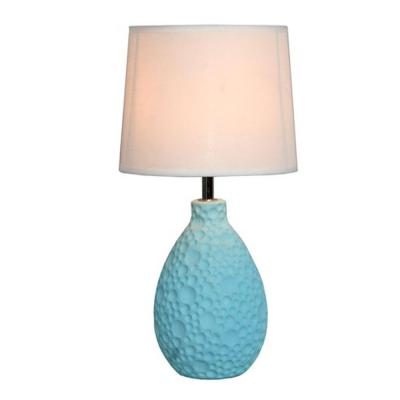 14 in. Blue Textured Stucco Ceramic Oval Table Lamp