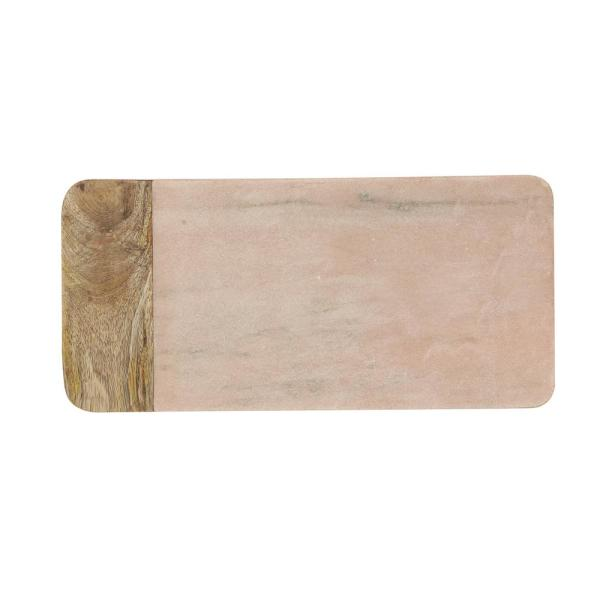 3R Studios Pink 16. in. L Marble and Mango Wood Cheese