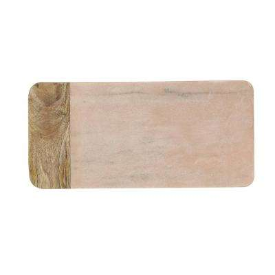 Pink 16. in. L Marble and Mango Wood Cheese Board