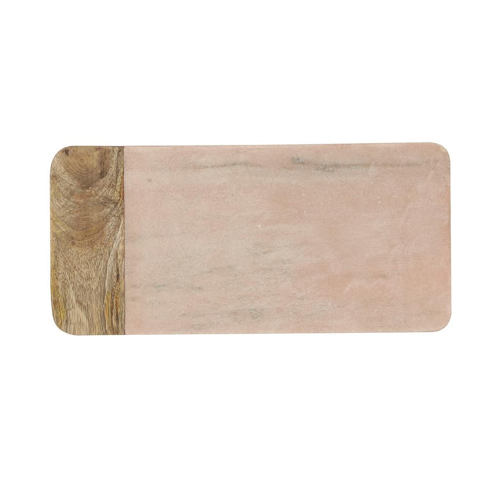 Pink 16.5 in. L Marble and Mango Wood Cheese Board