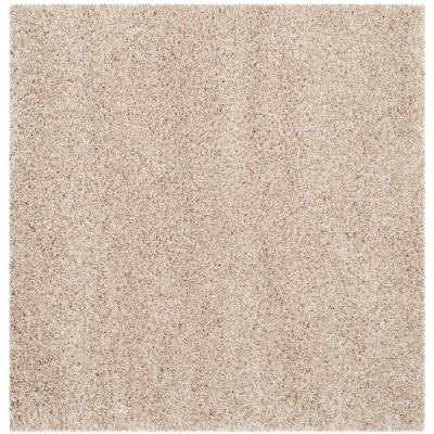 California Shag Beige 5 ft. 3 in. x 5 ft. 3 in. Square Area Rug