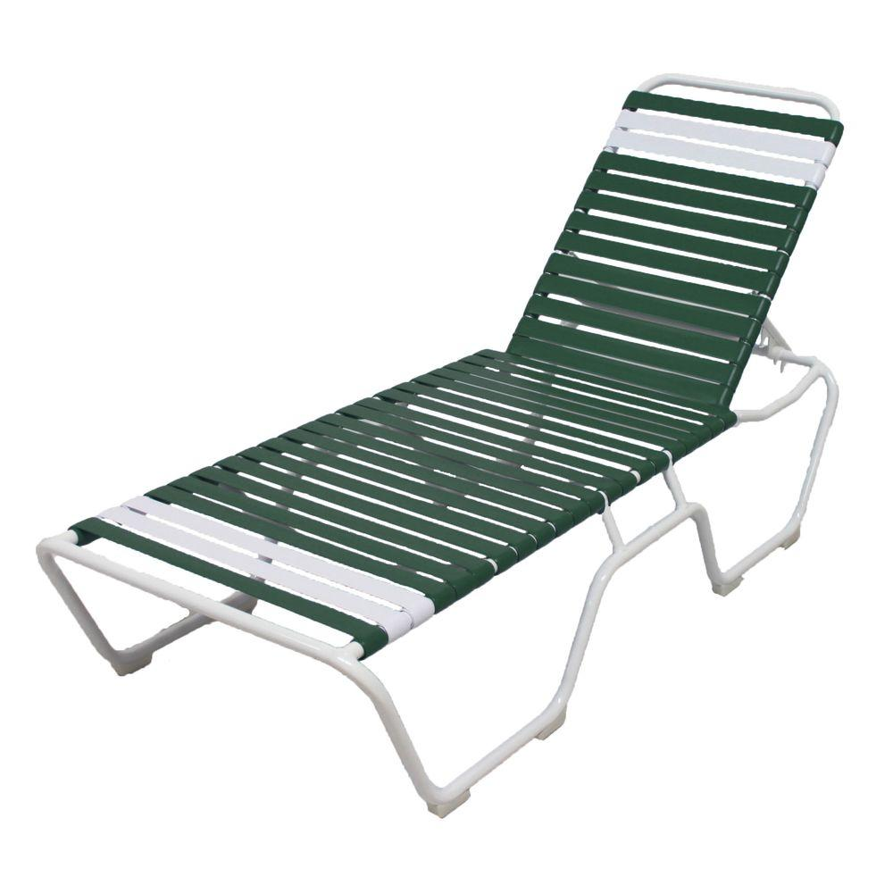 Marco island white commercial grade aluminum vinyl strap for Aluminum strap chaise lounge