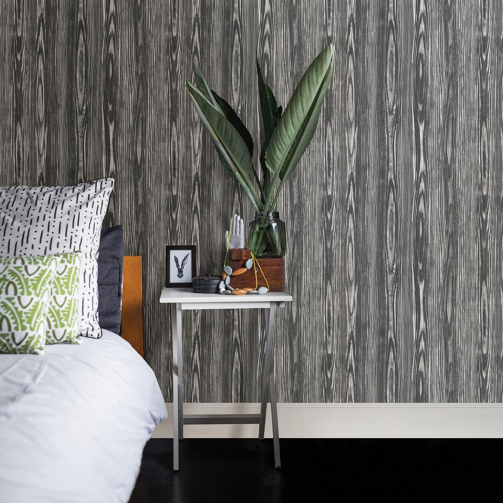 Illusion Black Wood Wallpaper