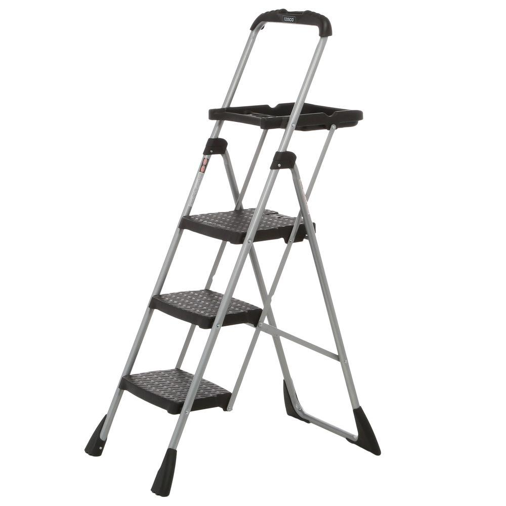 Cosco 4 ft. Steel Max Work Platform Ladder with 225 lbs. Load Capacity  sc 1 st  The Home Depot : cosco steel step stool 3 step - islam-shia.org